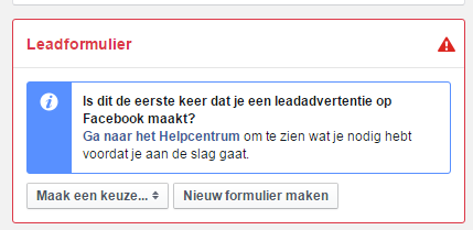 Facebook lead formulier aanmaken