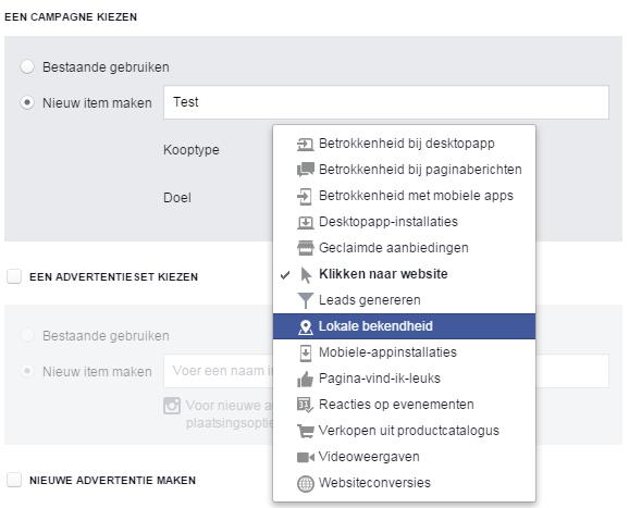 Facebook lokale bekendheid advertentie