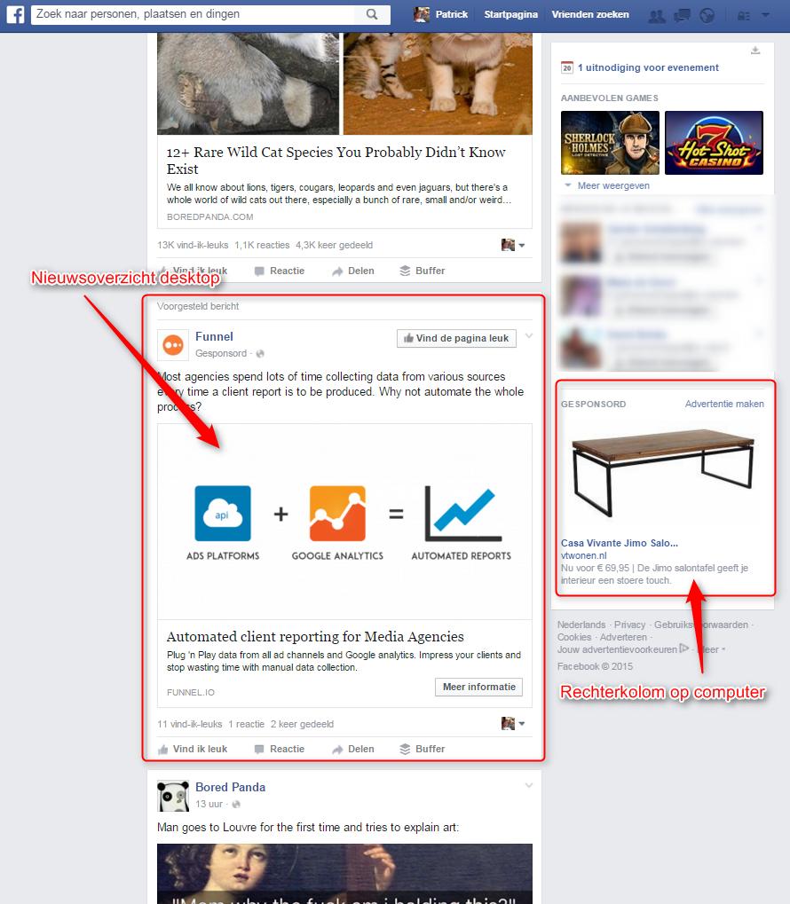 Nieuwsoverzicht desktop vs rechterkolom