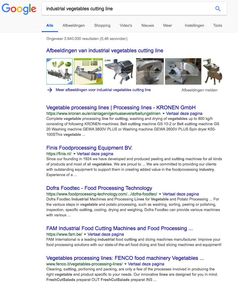 google industrial vegetables cutting line